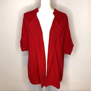 Talbots Woman 2X Red Short Sleeve Cardigan